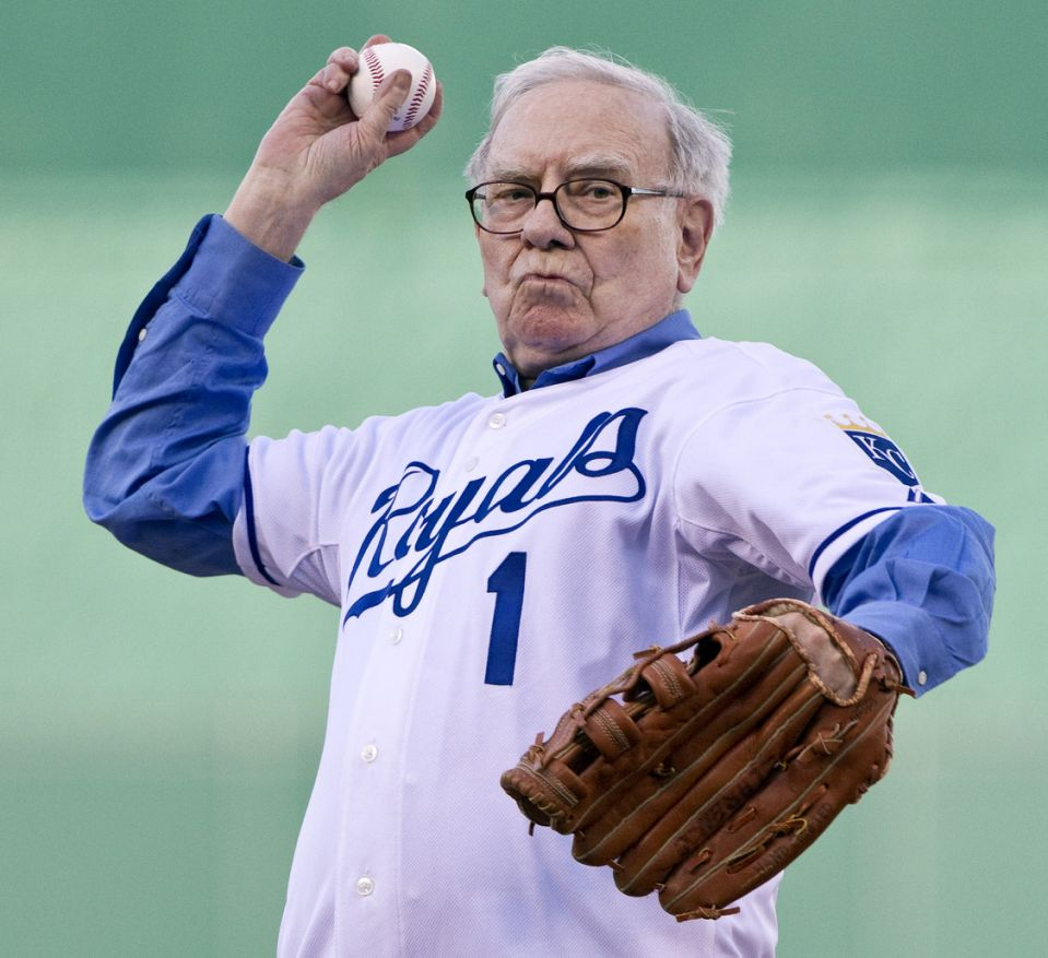 Berkshire Hathaway's Chairman Warren Buffett throws out the ceremonial first pitch before the Kansas City Royals play host to the Houston Astros at Kauffman Stadium in Kansas City Missouri, on Thursday, June 17, 2010.  (Photo by John Sleezer/Kansas City Star/Tribune News Service via Getty Images)